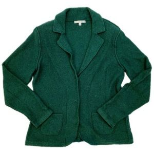 Cabi Forest Green Knit Blazer Cotton Blend